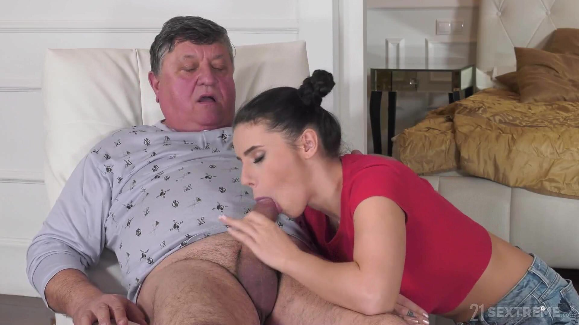 Sexy Housekeeper Takes Good Care Of An Old Man