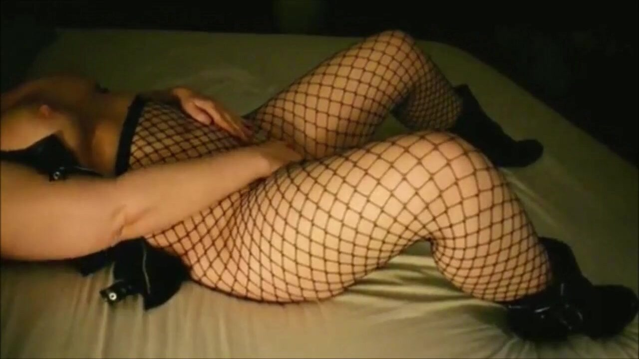 Busty Lady In Fishnets Pleasuring Her Ass And Pussy For Her Lover